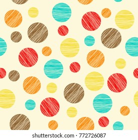 Shaded rounds of different size and color. Vector seamless pattern.
