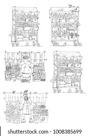 A shaded street cart full of vegetables and fruits in cardboard boxes. Cartoon.