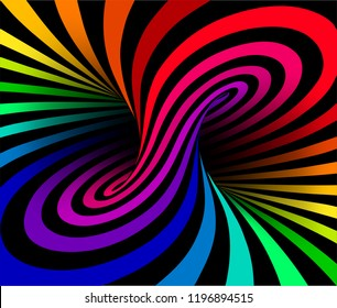 Shaded vector illustration of torus inside view with geometrical hypnotic psychedelic colorful stripes on black background.