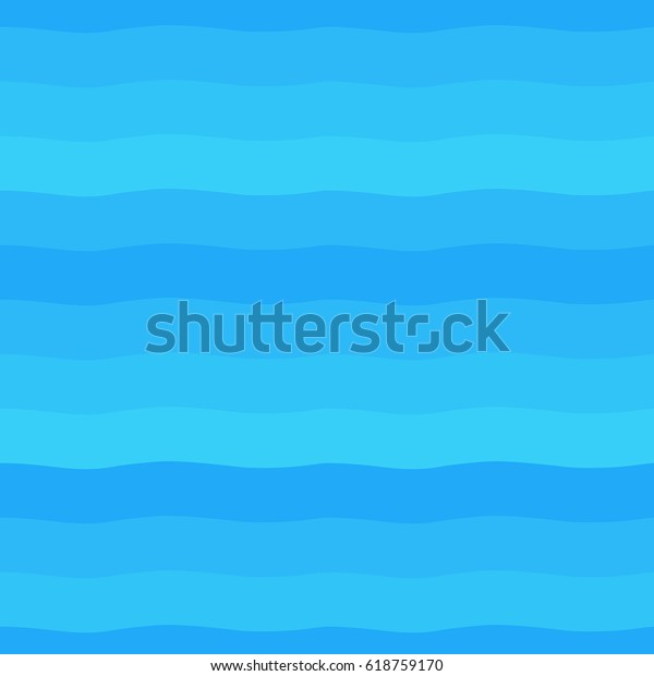 Shades of blue seamless vector gradient waves. Wide wavy stripes, streaks, bars texture. Water, sea, ocean, river, swimming pool background. Striped abstract template.