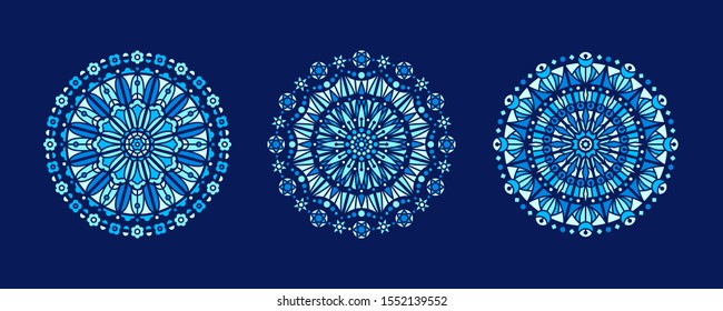 Shades of blue stained glass illustrations collection, circle shape, stylized rose window vector ornament, tracery. Round frames set, radial floral motive design element. Mosaic mandala decoration