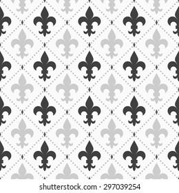 Shades of gray light and dark Fleur-de-lis pattern.Seamless stylish geometric background. Modern abstract pattern. Flat monochrome design. Royal Lily dark and light on dotted geometric grid seamless.