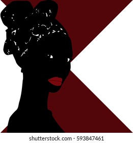 shadow of an African woman with red lips and the turban on her head on a white and  wine red  background