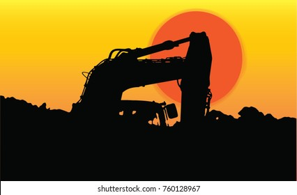 Shadow Construction silhouette Loading and digging vector wallpaper  background sunset