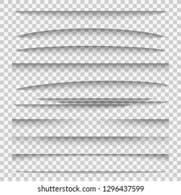 Shadow dividers. Line paper design panel shadow effects divider webpage edge template tabs group, web frame page vector elements