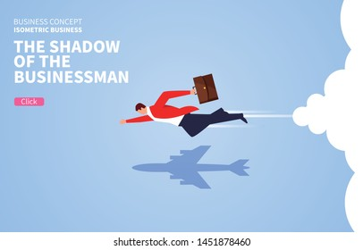 The shadow of a flying businessman turns into an airplane