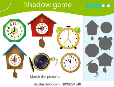 Shadow Game for kids. Match the right shadow. Color images of watches. Alarm clock, wall clock with cuckoo, electronic timepiece, wristwatch. Worksheet vector design for children and for preschoolers
