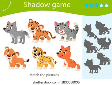 Shadow Game for kids. Match the right shadow. Color images of baby animals. Little cat, wolf, lion, tiger, cheetah, fox. Worksheet vector design for children and for preschoolers.