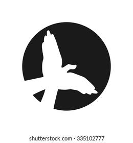 shadow hand logo. bird logo. vector.