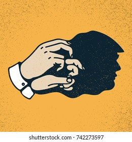 Shadow hand puppet of Donald Trump. Vector illustration on grunge texture background.