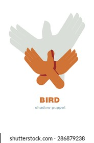 Shadow hand puppets: animals, bird, paper applique, unique origami style, shadow play, fun