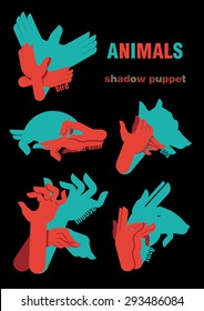 Shadow hand puppets: animals, bird, ant-eater, ant-bear,  moose, dog, goat, paper applique, unique origami style, shadow play, fun
