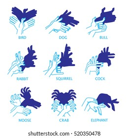 Shadow Hand Puppets Isolated on a White Background for Your Design. Shadow Theater or Shadow Play. Set. Bird, dog, bull, rabbit, squirrel, cock, moose, crab and elephant. Vector illustration.