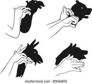Shadow of hands forming animal faces