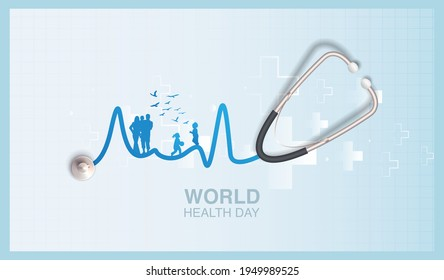 The shadow of a happy family can be seen in the wire of the stethoscope, it's represent World Health Day.