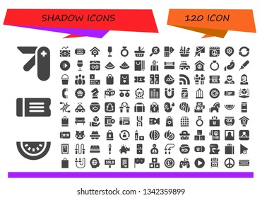shadow icon set. 120 filled shadow icons.  Simple modern icons about  - Pocket knife, Watermelon, Ticket, Profit, Bird house, Wine glass, Ring, Picnic, Sandclock, Domino, Mute