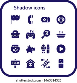 shadow icon set. 16 filled shadow icons.  Simple modern icons about  - Eye mask, Ring, Ticket, Refresh, Picnic, Play, Sandclock, Cat, Fish bowl, Money box, Equality, Sold, Peace