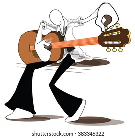 Shadow Man easier tuning his guitar folk, acoustic, unplug relax time from office hour can use advertise illustration, logo, symbol graphic design