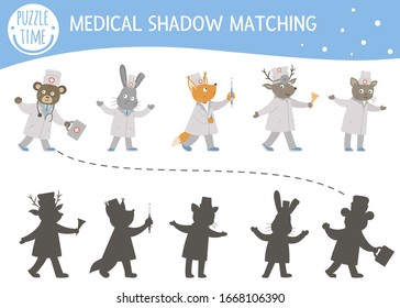 Shadow matching activity for children with cute animal doctors. Medicine or healthcare preschool puzzle. Cute medical educational riddle. Find the correct silhouette game
