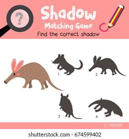 Shadow matching game of Aardvark animals for preschool kids activity worksheet colorful version. Vector Illustration.