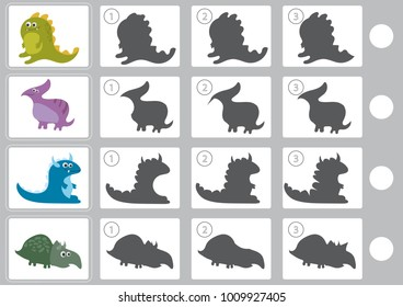 Shadow matching game with cartoon dinosaur for children