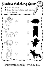 Shadow matching game of forest animals for preschool kids activity worksheet layout in A4 coloring printable version. Vector Illustration.