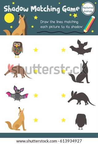Image of: Printable Worksheets Shadow Matching Game Of Nocturnal Animals For Preschool Kids Activity Worksheet Layout In A4 Colorful Printable Shutterstock Shadow Matching Game Nocturnal Animals Preschool Stock Vector