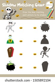 Shadow matching game for preschool kids activity worksheet in Halloween Day theme colorful printable version layout in A4.