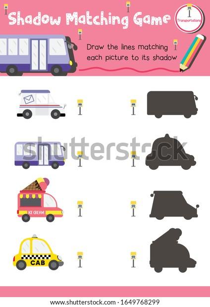 Shadow Matching Game Preschool Kids Activity Stock Vector (Royalty Free)  1649768299