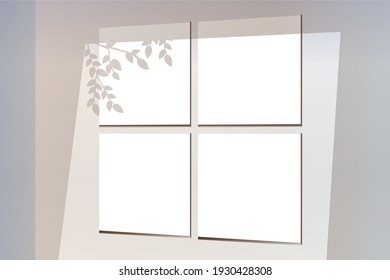 Shadow mockup for branding overlay. Realistic vector stock illustration. Bulk template for branding overlay. Paper posters for branding. Modern mockup with window shadow