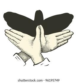 """Shadow puppet : Bird  - vintage engraved illustration - """"Dictionnaire encyclopedique universel illustration"""" By Jules Trousset - 1891 Paris"""
