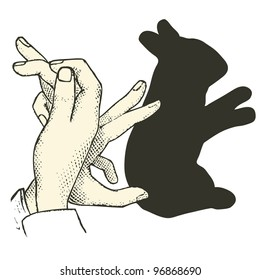 "Shadow puppet : Rabbit  - vintage engraved illustration - ""Dictionnaire encyclopedique universel illustration"" By Jules Trousset - 1891 Paris"