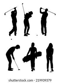 Shadow of six golfers