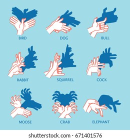 Shadow Theater. Hands gesture like different animals and birds. Vector illustration of Shadow Hand Puppet isolated on a blue background. Element for your design, artwork, print. Icon.
