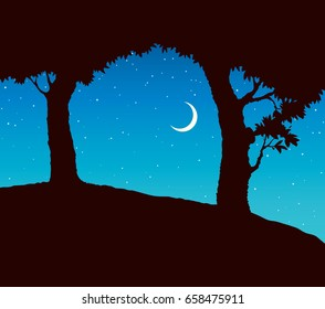 Shadow of two old apple trees in field isolated on cyan sky. Ink drawn picture in art engraving graphic style. Romantic scenic view with space for text.