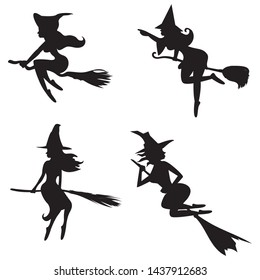 shadow of a witch on brooms isolated on white background