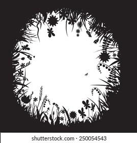 shadows flowers, flower frame, summer round, vector, black and white,