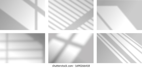 Shadows soft overlay effects transparent on white wall set for presentation. Horizontal format mock-ups. Scenes of natural lighting. Realistic vector illustration Window and jalousie frames monochrome