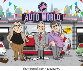shady car salesmen - vector (can enlarge to any size you want)