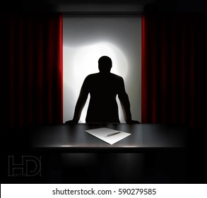 shady man in silhouette standing over desk requesting for sign-up.  High quality vector Illustration