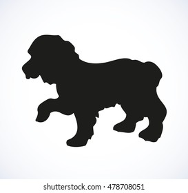 Shaggy American Cocker Spaniel isolated on white backdrop. Dark ink hand drawn picture in art retro style pen on paper. Closeup side view with space for text