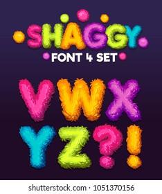 Shaggy font 4 set cartoon letters. Vector color illustration sign v, w, x, y, z
