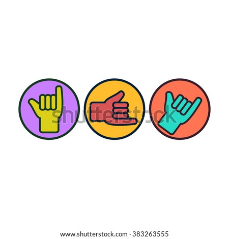 Shaka Hang Loose Sign Gesture Stock Vector Royalty Free 383263555