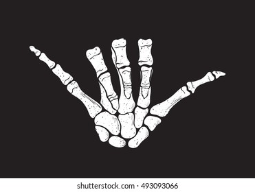 Shaka sign, surf - vector hand drawn illustration of hand skeleton. Texture effects can be turned off