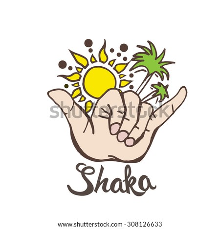 shaka surf hand sign palms sun stock vector royalty free