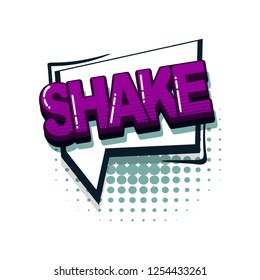 Shake comic text collection sound effects pop art style. Set vector speech bubble with word and short phrase cartoon expression illustration. Comics book colored background template.