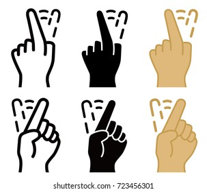 Shake finger to reject, front and back view, line, solid and color style, vectors