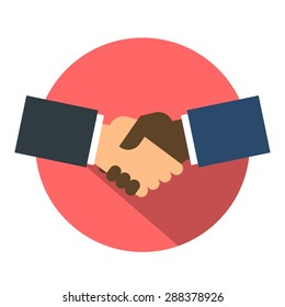 Shake hand flat icon. Shaking hands business icon on a red. Agreement shaking hands. shaking hands button. Cooperation concept. Vector illustration. isolated.