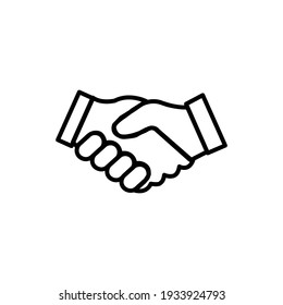 Shake hand line icon isolated on white background. Outline style. Vector illustration
