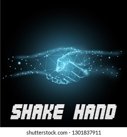 Shake hand network concept with polygon style vector background
